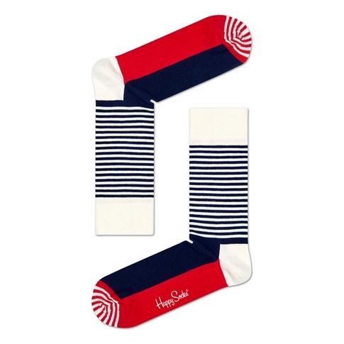 Happy Socks Half stripe - kleur: White