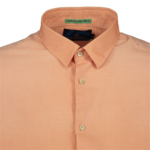 Scotch & Soda Longsleeve Shirt Spray Wash Orange Salmon