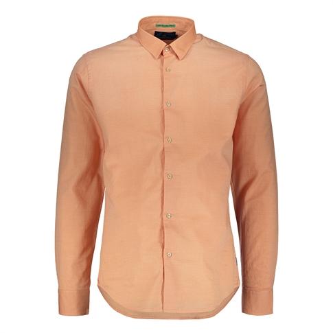 Scotch & Soda Longsleeve Shirt Spray Wash - kleur: Orange Salmon