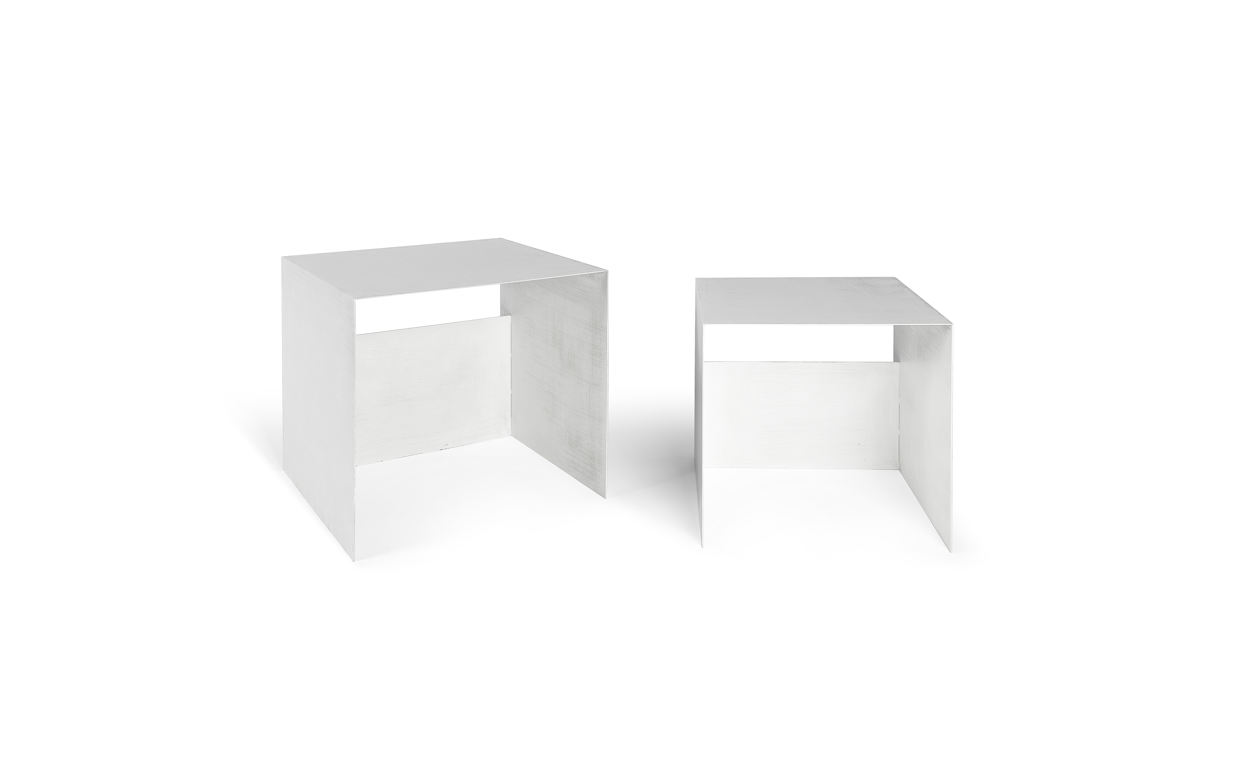 Guido set of 2 Coffee Tables in Iron - guido set of 2 coffee tables in iron - signal white 7040 - merk: Atipico